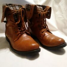 Anna Boots Women's Sz 10 Tammy-12 Comfy Mid-Calf Cuff Military Flat Lace Up
