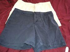 2 pair Liz Claiborne Women's Size16 Shorts ~ Cotton Blend ~ Beige, Navy.
