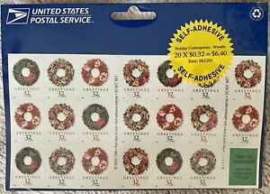 1996 - 32c HOLIDAY CONTEMPORARY WREATHS - SEALED SHEET (PANE) OF 20