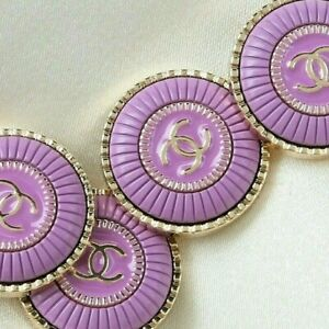 Chanel Buttons 4pc CC 💜  Purple 23 mm Vintage Style Unstamped 4 Buttons AUTH!!