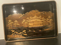 Antique Japanese Kinkakuji Black and Gold Lacquer Tray by Zohiko