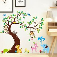 Large Tree Wall Stickers Kids Baby Room Animals Monkey Elephant Removable DIY