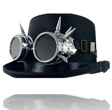 Vintage Steampunk Cyber Retro Sliver Spike Goggles & Black Top Hat Hot Punk