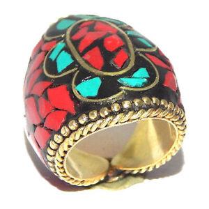 Coral & Turquoise Stone Tibetan Jewelry Nepal Handmade Golden Ring 7 NEP726