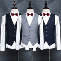 Men's Dress Suit Vest Formal Business Wedding Tuxedo Waistcoat Jacket Coat Tops