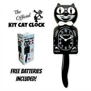 """CLASSIC BLACK KIT CAT CLOCK 15.5"""" Free Battery Official MADE IN USA Klock NEW"""
