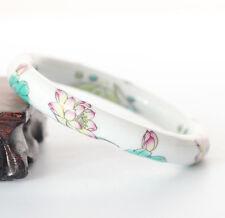 B04 Bracelet Chinois Emaux Porcelaine Blanc Avec Évasion Et Boutons