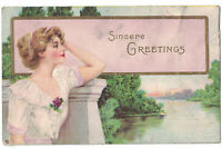 Vintage Greetings Embossed Postcard SINCERE GREETINGS Lady White Dress 1915