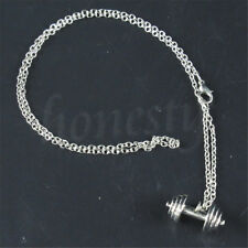 Fashion Jewelry Alloy Dumbbell Barbell Weight Pendant Charm Necklace Gym Sports