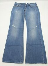 """Lucky Brand Womens Jeans Size 12 Midnight Maggie Distressed Boot Blue Denim 32""""L"""