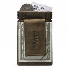 Quality Genuine Leather Money Clip with Magnet Wallet Slim Credit Card Holder
