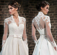 Wedding Jackets High Collar Lace Top Bridal Bolero Wraps Shawl Long Sleeve Lace