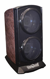 New Double Diplomat Automatic Double Dual Watch Winder Tower Burlwood black