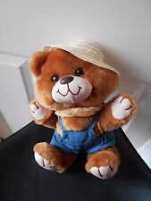 """MTY PLUSH BEAR IN OVERALSS & STRAW HAT 11"""" TALL VGC VINTAGE CUTE"""