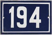 Old blue French house number 194 door gate plate plaque enamel steel metal sign