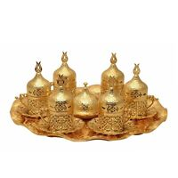 Authentic Ottoman Turkish Gold Metal Tea Coffee Saucers Cups Tray Set