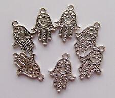 6pz ciondoli charm MANO DI FATIMA colore argento tibetano  24x17mm bijoux