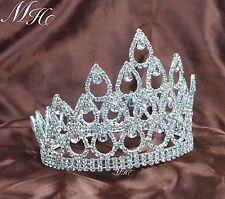 "Wedding Pageant Crown 5"" Tiara Diadem Clear Rhinestone Crystal Brides Party Prom"