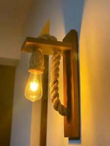 Wooden Rope Wall Lamp Wall Hanging Light Bulb Bedroom Outdoor Livingroom