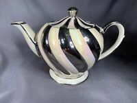 Vintage Sadler England Teapot Cream w/ Silver Swirls Numbered Initialed J28