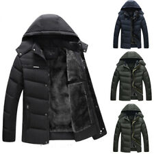 Mens Winter Quilted Parka Fur Lined Puffer Jacket Hooded Coat Outwear Overcoat