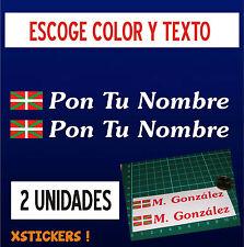 2 X PEGATINAS - BANDERA DE EUSKADI CON NOMBRE -VINILO-BICI-BIKE - Ikurriña