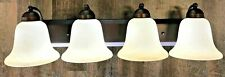 New 4 light rubbed bronze vanity bathroom light with star tea stain glass