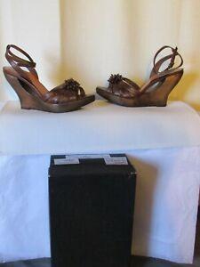 sandales compensées mine de rien cuir marron pointure 36