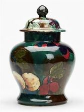 HANCOCK FRUIT HAND PAINTED LIDDED JAR BY FX ABRAHAM c.1920