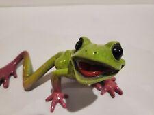 Kitty'S Critters Slim The Frog Figurine Green Purple Resin