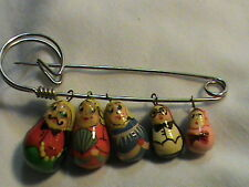 of Five Pin Brooch Russian Matryoshka Babushka Family