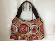 Braciano Vinyl Coated Purse Tote Bag, Red, Green, Pink, Brown Floral Patterned