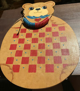 Country Primitive Wooden Checkerboard Game board Oxblood Red Black Paint Pigs