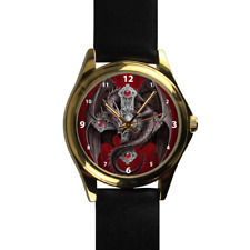 Gothic Dragon Crawling up Cross Evil  Black Leather Strap Wrist Watch