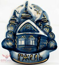 Gzhel Porcelain souvenir  Russian winter house in the woods hand-painted magnet