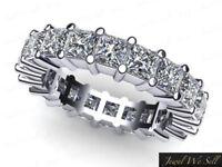 Natural 2.50ct Princess Cut Diamond Wedding Eternity Band Ring 14k White Gold