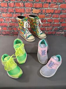 GUC lot of 3 girl's NIKE athletic shoes & ROMA rubber rain boots - size 13