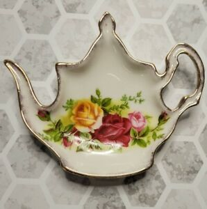 Royal Albert old country roses teapot shaped Spoon Holder