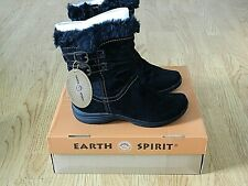 Earth Spirit Lewiston Ladies Flat Ankle Boots Black Suede Size 5 / 38 NEW
