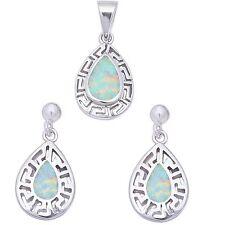 White Opal Filigree design .925 Sterling Silver Earring & Pendant jewelry set