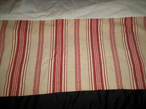 Pottery Barn King Classic Ticking Stripe Bed Skirt Red Tan Split Corner