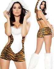 New Sexy Woman's Strapless Fur Cat Animal Tiger Costume Halloween Cosplay EDM