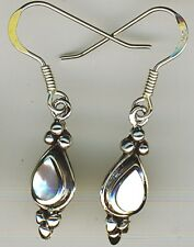 925 Sterling Silver White Mother of Pearl Drop / Dangle Earrings Length 1.3/8""