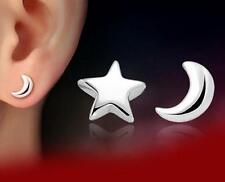 925 solid silver small Star month earrings stud women fashion jewelry