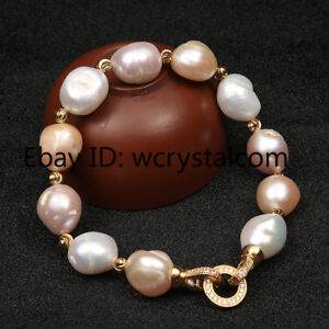Multicolor Natural Pearl High-grade Baroque Shaped Pearl Pave Bracelet Women