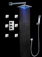 "Luxury Bathroom Shower Set 10"" LED Shower Head (Wall Mount) 6 Massage Spray Body"