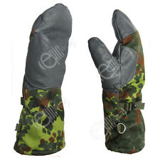 German Army Flecktarn Camo Mittens - Winter Surplus Fleece Lined Gloves Military