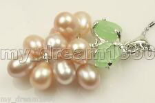 Beautifu Natural Pink Freshwater Pearl Green Jade Grape Shape Pendant Necklace