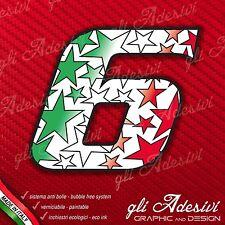 Adesivo Stickers NUMERO 6 moto auto cross STAR Verde Bianco Rosso Tricolore 5 cm