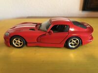 "Dodge Viper GTS Coupe 1/24 Burago Diecast Made In Italy Used 7"" Long"